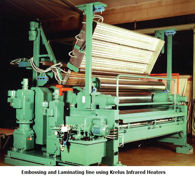 IR heaters embossing and laminating line